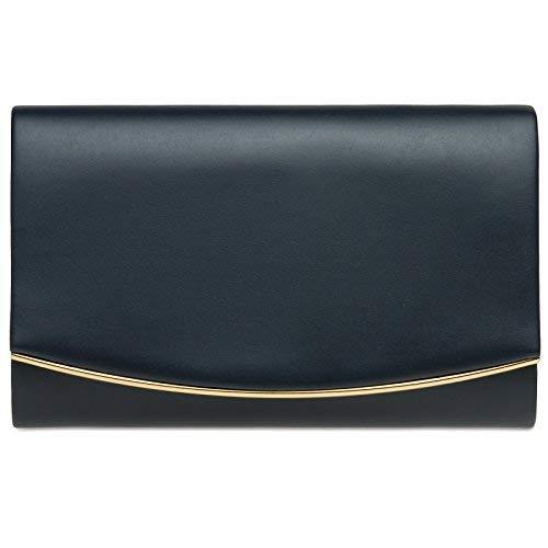 Caspar TA414 Bolso de Mano Fiesta para Mujer Clutch Elegante con Solapa Redonda, Color:azul oscuro, Talla:Talla Única