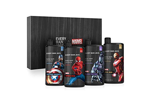 Every Man Jack Marvel Collectors Edition Body Wash Set - Spider-Man, Iron Man, Black Panther, Captain America | 16.9-ounce Bottle - 4 Bottles Included | Naturally Derived, Parabens-free, Cruelty Free