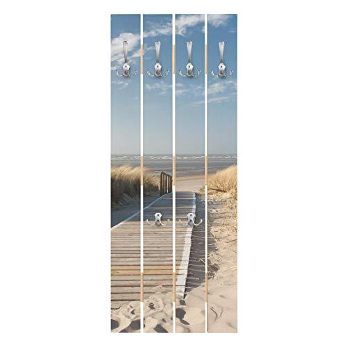 Bilderwelten Wandgarderobe Holz Paneel - Ostsee Strand - Haken Chrom - Hoch 100 x 40cm