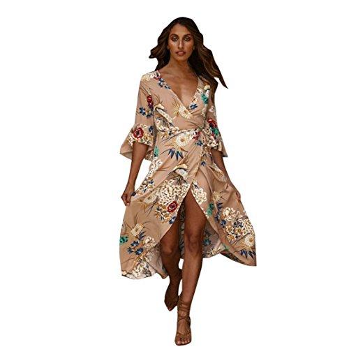 Yesmile Vestido de Mujer Vestido Corto Partido Vestido Elegante de Noche para Boda Boho Vestido Maxi Largo de la Fiesta de Verano de la Playa de Las Mujeres (Caqui, XXL)