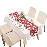 Camino de mesa – Navidad rojo y blanco tejido camino de mesa con borlas dibujos animados árbol copo de nieve alce patrón cuadros mantel vacaciones fiesta decoración accesorios