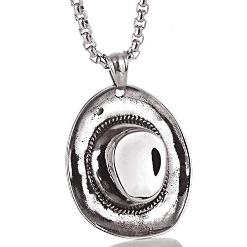ANAZOZ Halskette für Herren Hut Biker Kette Kettenanhänger Herren Edelstahl Männer Schmuck Halsketten Silber Geschenk für Mann