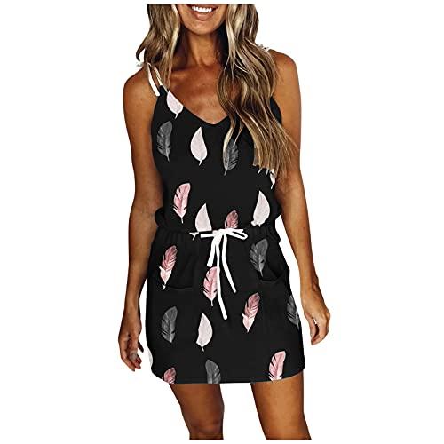 OPALLEY Damen Sommer Mini Kleid Dress Gestreift Sommerkleid V-Ausschnitt Freizeitkleider Cocktailkleid Partykleid Strandkleid Blusenkleid