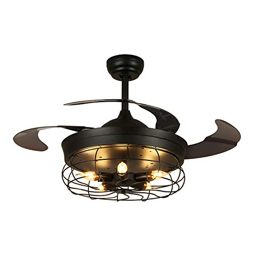 7PM Industrial Ceiling Fan with Light Black Retractable...