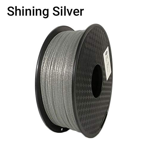 Lmn 3D Printer Shining PLA Filament 1KG(2.2lbs) 1.75mm, Sparkle Shining Black Blue Pink Golden Silver Color 3D Printing Filament For 3D Printer Materials Printing Pen (Color : Shining Silver)