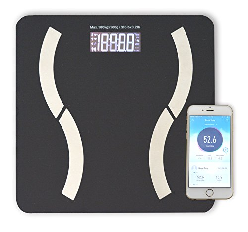 HoooWooo Bluetooth Body Fat Bathroom Scale with Tempered Glass Platform, 9 Body Measurement, Step on it, it Will Turn on