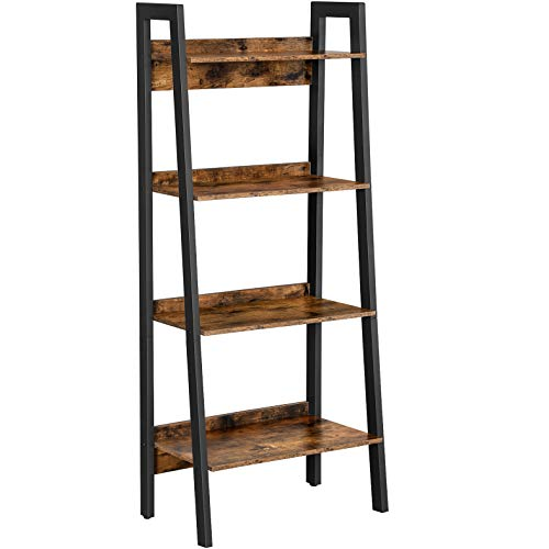 VASAGLE Ladder Shelf, 4-Tier Home Office Bookshelf, Freestanding Storage Shelves, for Living Room Bedroom Kitchen, Metal Frame, Simple Assembly, Industrial, Rustic Brown and Black ULLS054X01
