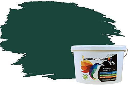 RyFo Colors Bunte Wandfarbe Manufakturweiß Dschungelgrün 10l - weitere Grün Farbtöne und Größen erhältlich, Deckkraft Klasse 1, Nassabrieb Klasse 1