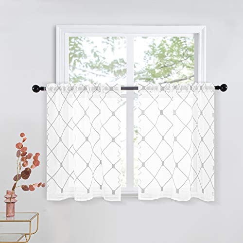 Top Finel White Kitchen Sheer Tier Curtains 36 Inch Length Grey Embroidered Rod Pocket Small Window Curtains for Basement Bathroom, 2 Panels