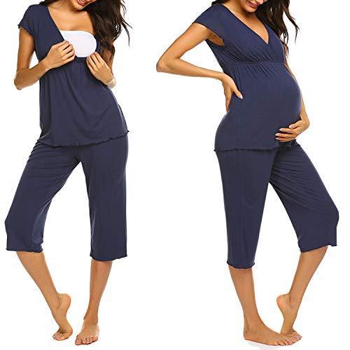 Unibelle Stillpyjama-Schlafanzug-Umstandspyjama für Damen, Leichte Nachtwäsche für Frühling-Sommer Navyblau S
