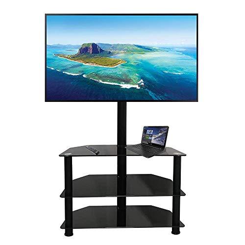 MTB Universal Corner Floor TV Stand Swivel Mount for Most 32-65 Inch Flat Screen TVs,Tempered Glass, Max VESA 600 x 400mm, Black