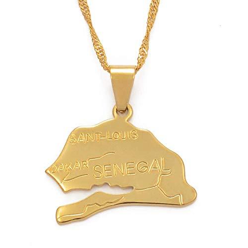 Mapa de la república de chile collares pendientes para mujer joyería de niña Color dorado artículos africanos mapas patrón étnico-60cm Cadena fina