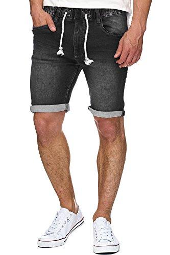 Indicode Herren Kadin Sweatshorts mit 5 Taschen aus 82% Baumwolle | Kurze Hose Used-Look Shorts mit Denim-Optik Sommerhose Short Sweat Pants Jeans-Look Freizeithose für Männer Black XXL