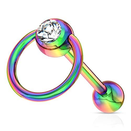 Trendy-Sandy Zungenpiercing - Slave Ring Piercing Hantel Zunge Chirurgenstahl Zirkonia #758 Regenbogenfarben