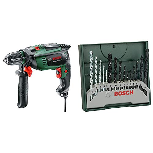 Bosch Universal Impact 800 - Taladro percutor, 800 W, empuñadura adicional, tope de profundidad, maletín (ref. 0603131100) & Mini X-Line - Set de 15 brocas mixto: mini x-line (ref. 2607019675)