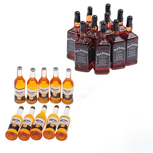 15 piezas 1:12 Mini Botellas de vino Modelo Casa de muñecas Bebidas en miniatura Bebida de simulación Modelo de copa de vino Mini bebidas de cerveza Jugar Cocina Botellas de vino Juguete para casa de