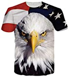 RAISEVERN Unisex 3d American Flag Eagle Printed Round Neck Polyester Spandex T Shirts Tees Style 2 American Flag 3 XX-Large