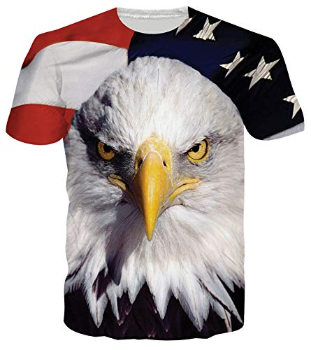 RAISEVERN Unisex 3d American Eagle Flag Printed Graphic Stylish T Shirts Tees Clothes Style 2 American Flag 3 Large