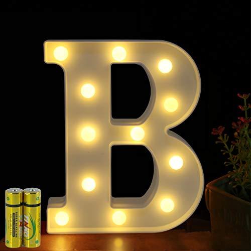 HONPHIER - Letras luminosas con letra luminosa y letra de luces LED, funciona a pilas para recepciones, fiestas, bodas, casas, bares, decoración (B)