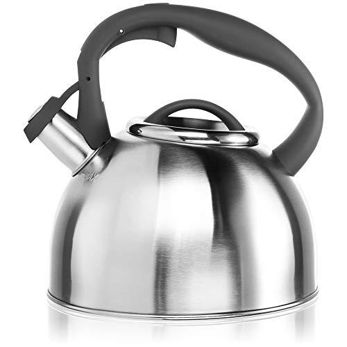 COM-FOUR® Hervidor de té de 2,4 L - Hervidor de agua grande de acero inoxidable - Hervidor para hervir agua - Hervidor retro con práctico mango (01 pieza - 2,4 litros - gris)