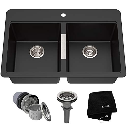 Kraus Quarza Kitchen Sink, 33-Inch Equal Bowls, Black Onyx Granite,...