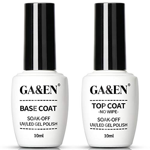 No Wipe Top Coat Base Coat Soak Off Set 10ml LED Lamp Cure Quick Dry Clear Shine Gloss Mirror Long Lasting Nail Art Gel Polish Resin Tested Formula For Home And Salon Use