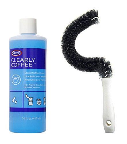 Cepillo de limpieza para cafetera y 1 botella de limpiador líquido de café Urnex Clearly