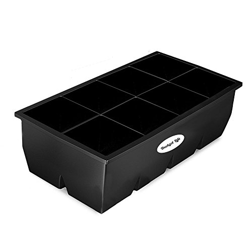 """Extra Large size 2-inch flexible silicone ice cube tray maker for whiskey,cocktails,coffee,wine & scotch.Giant BPA free freezer cubes mold. Very X big 2"""" molds trays.Best 8 cavity ice holder."""