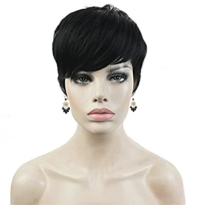 Aimole Synthetic Short 6 Inches Red/Drakest Brown Straight Wig Heat Resistant Full Capless Hair Party Wig