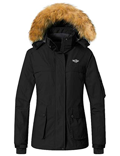 Wantdo Women's Skiing Jacket Winter Waterproof Snow Coat with Hood Black L