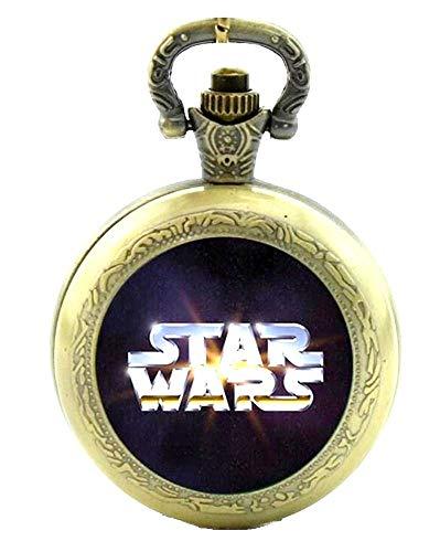 Star Wars - Collar con reloj de bolsillo de cuarzo, efecto de bronce envejecido, en caja de regalo con batería de repuesto gratis
