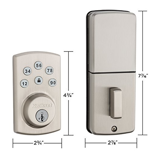 Kwikset 99070-101 Powerbolt 2 Door Lock Single Cylinder Electronic Keyless Entry Deadbolt featuring SmartKey Security in Satin Nickel