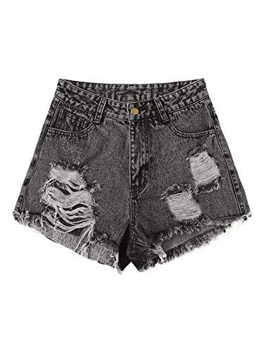 DIDK Damen Jeansshorts Basic Jeans Denim Shorts Kurze Hosen High Waist Kurze Hose mit Quaste Ripped Loch Hotpants Shorts Grau S