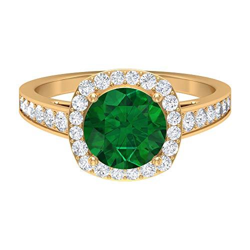 Anillo de halo solitario, piedras preciosas redondas de 2,61 quilates, diamante HI-SI 8 mm esmeralda difusa, joyería de oro macizo, 18K Oro amarillo, Size:EU 50