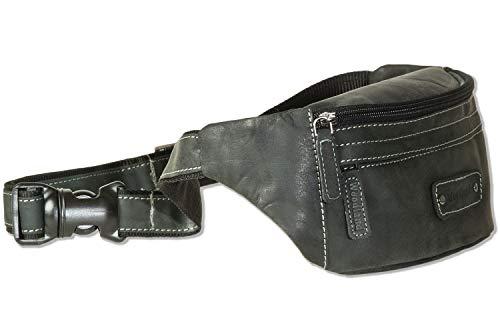 Gürteltasche Bauchtasche | Material: Echtes Hunter-Leder | Farbe: Anthrazit/Schwarz | NEU