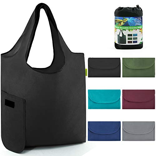 ReusableGroceryShoppingBagsFoldable With Magic Tape 6 Pack Large 50LBS Easy Fold Reusable Groceries Tote Bags Ripstop Fabric Washable Durable Lightweight Black Grey Navy Teal Moss Maroon