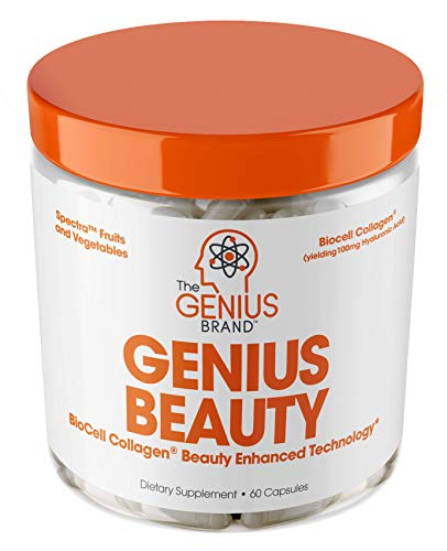 Genius Beauty - Hair Skin and Nails Vitamins + Detox Cleanse + Anti Aging Antioxidant Supplement, Collagen Pills w  Glutathione & Astaxanthin for Wrinkles, Hair Growth & Skin Whitening - 60 Capsules