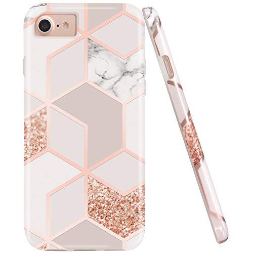 JAHOLAN Coque de protection en silicone TPU souple pour iPhone 7, iPhone 8, iPhone 6/6S Motif marbre blanc, transparent doré