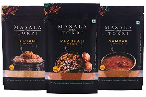 Masala Tokri Biryani, Pav Bhaji, & Sambar Masala, 100% Natural, No Preservatives 125 g (Pack of 3)