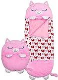 XuanP - Saco de dormir para niños, plegable, cómodo saco de dormir para niños, 2 en 1, protección para siesta, cojín suave para camping familiar (gato rosa)