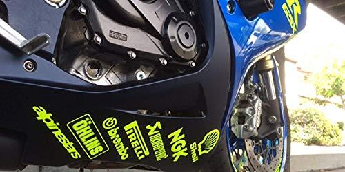 Twisted Melon Motorrad-Bauchwannen-Aufkleber mit Sponsoren-Motiv, fluoreszierendes Gelb, 14 Stück