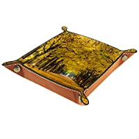 男性女性バレットトレイ、マイクロファイバーレザートレイ、秋の木々黄色い紅葉アベニュー 、キーコインフォンウォレット用デスク収納プレート