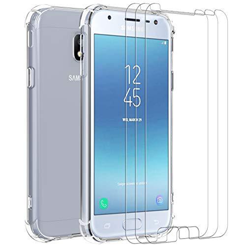 iVoler Cover per Samsung Galaxy J3 2017, Antiurto Custodia con Paraurti in TPU Morbido e 3 Pezzi Pellicola Vetro Temperato, Ultra Sottile Trasparente Silicone Protettiva Case