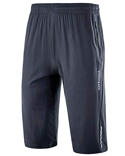 YAWHO Herren Sporthose Kurz Hose Laufshorts Trainingsshorts Schnelltrocknend mit Reißverschlusstasche/Jogging Hose für Workout,Laufsport,Fitness (Grey (1909), M)