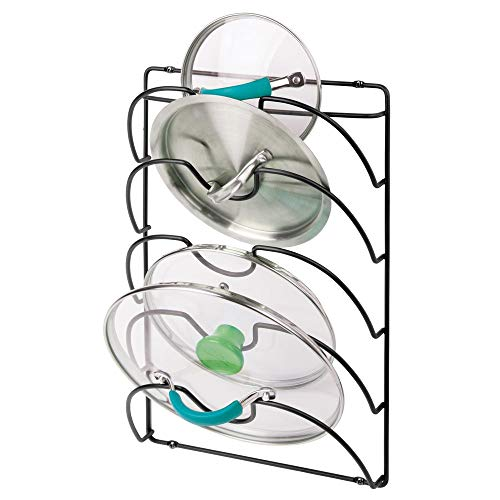 mDesign Metal Wire Pot and Pan Lid Rack Organizer for Kitchen Cabinet Doors or Wall Mount - Upright Storage Holder with 5 Slots - Black