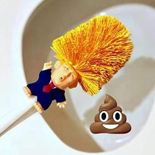 Toilet Brush Set with Holder, Cartoon Trump, Plastic - Didade - Bathroom Bowl Cleaner and Base, Good Grip Strong Bristles (Yellow)