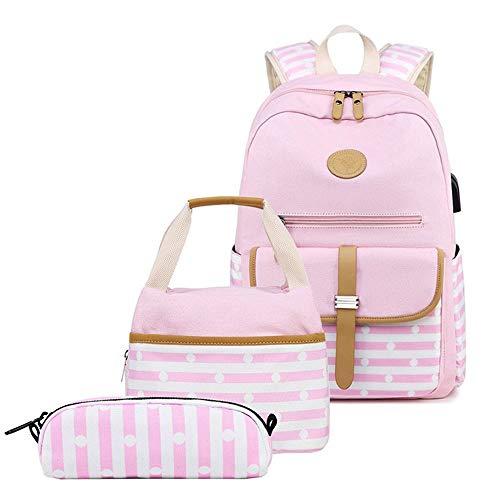 MoonyLI Mochila escolar Set 3 en 1 lindo impreso librería bolsa impermeable mochila escolar bolsa de viaje libros mochila escolar mochila de día para niños almuerzo bolsa de la compra Clutch, Rosa.