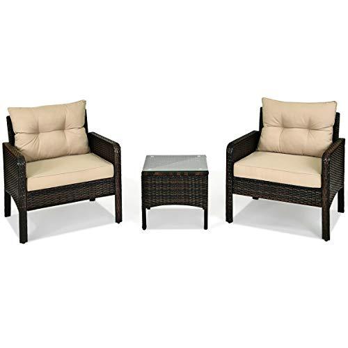 3 Pcs Outdoor Rattan Conversation Furniture Set Patio Garden Cushioned Sofa Chair