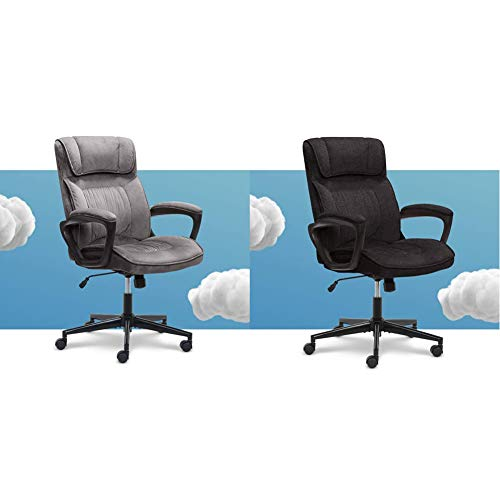 Serta Executive Office Chair Computer Body Pillows, Black/Grey & Hannah Microfiber Office Chair with Headrest Pillow, Adjustable Ergonomic with Lumbar Support, Soft Fabric, Charcoal Grey