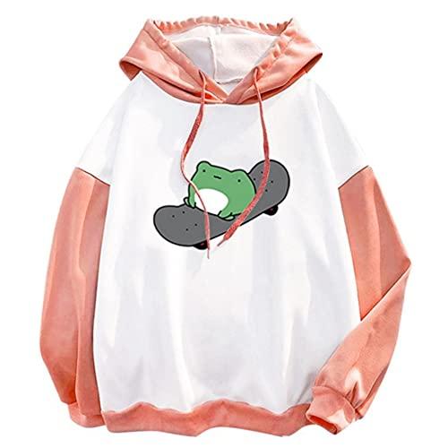 Costaric Women's Cute Long Sleeve Hoodie Skateboarding Frog Print Drawstring Pullover Tops Sweatshirt Black M